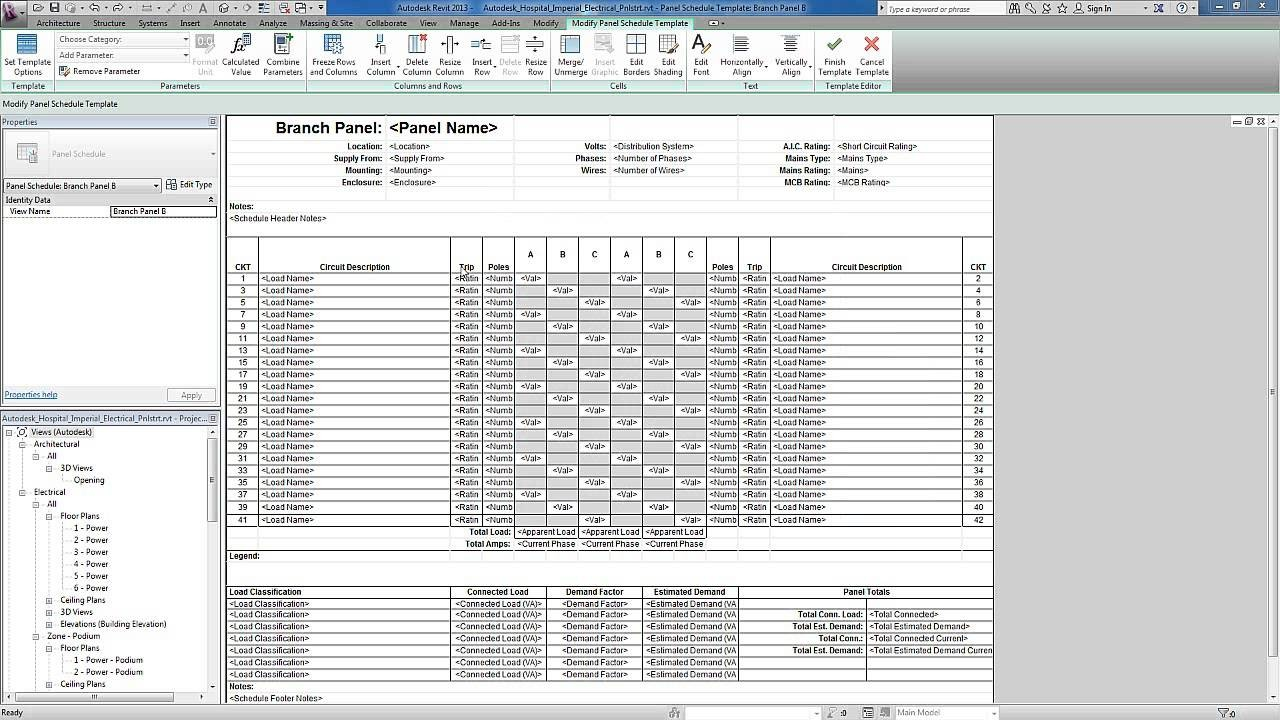 3 phase panel schedule template excel  Revit for MEP - Electrical Systems - Panel Templates - YouTube - 3 phase panel schedule template excel