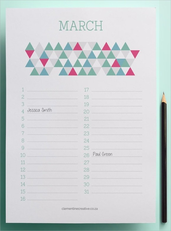 5 month calendar template  Sample Birthday Calendar Template - 13+ Documents in PDF ..