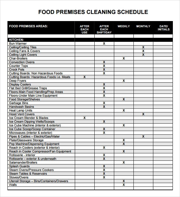 kitchen cleaning schedule template  Sample Cleaning Schedule Template - 5+ Documents in PDF - kitchen cleaning schedule template