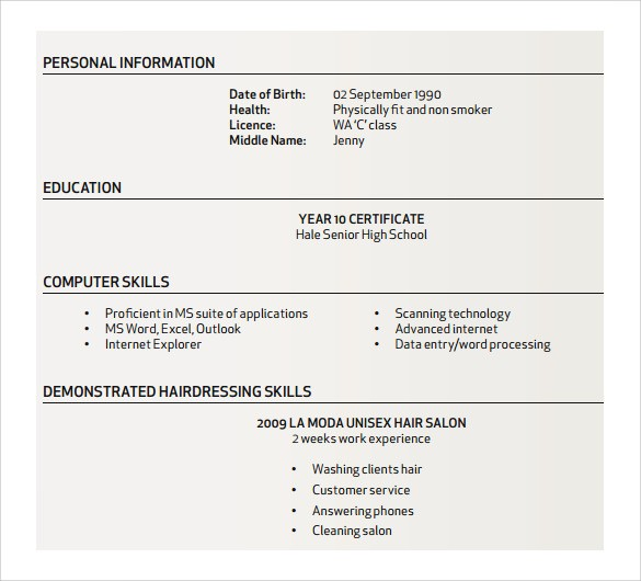 resume template how to create a resume on word  Sample Hair Stylist Resume - 7+ Free Documents In PDF, Word - resume template how to create a resume on word