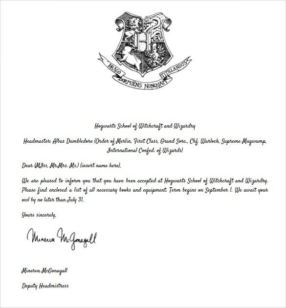 hogwarts acceptance letter template Sample Hogwarts Acceptance Letter - 8+ Download Documents ...