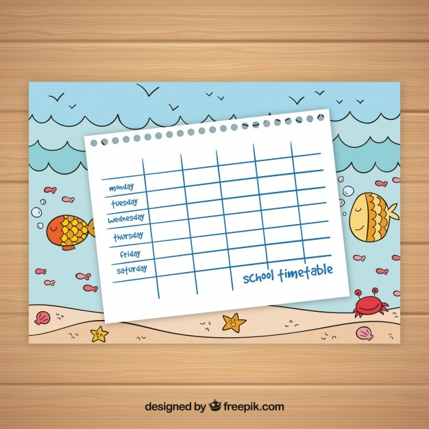 school schedule template cute  School timetable template ocean theme Vector | Free Download - school schedule template cute