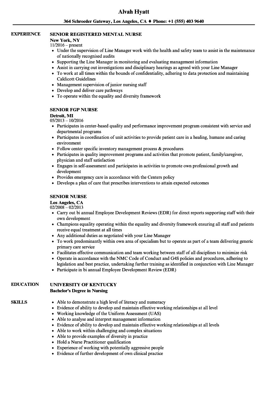 resume template nursing  Senior Nurse Resume Samples | Velvet Jobs - resume template nursing