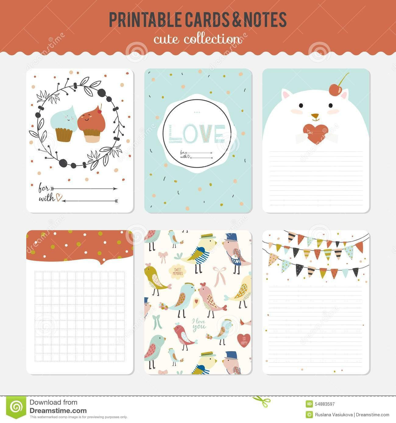 school schedule template cute  Set Of Cards, Notes And Stickers With Cute Stock Vector ..