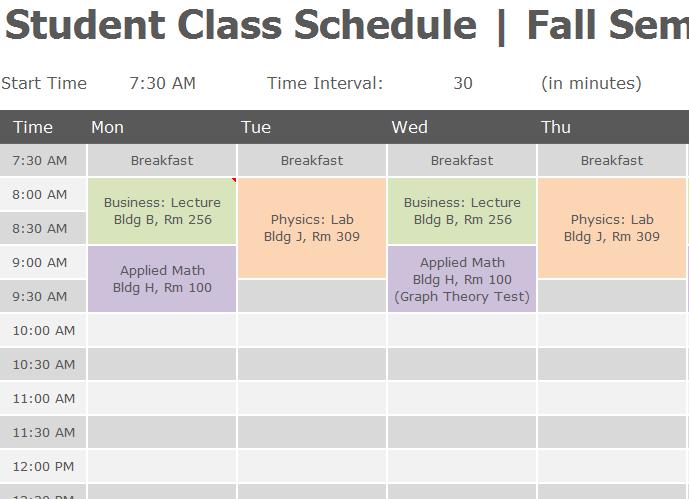 schedule template pdf  Student Class Schedule - My Excel Templates - schedule template pdf