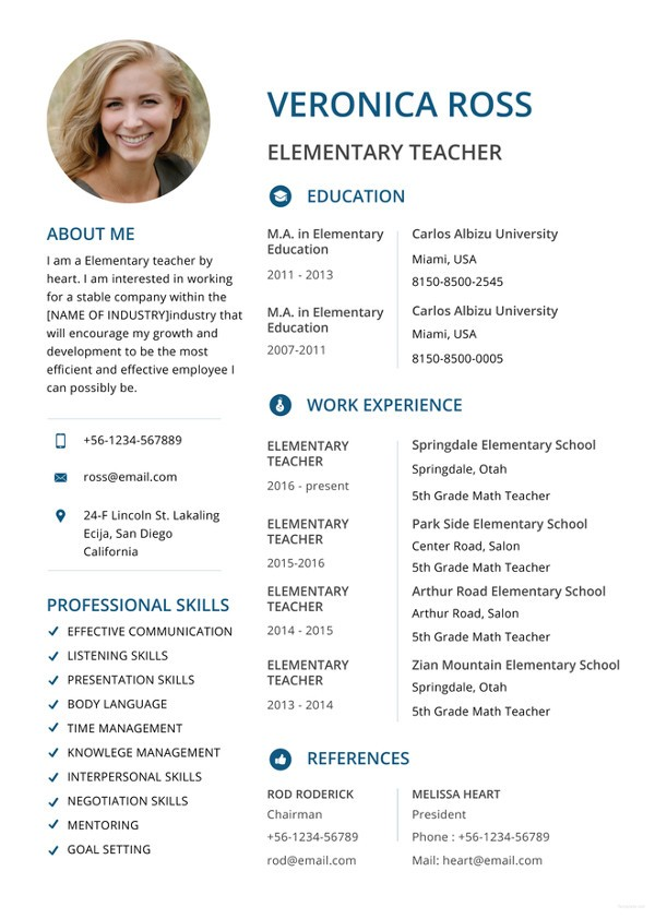 resume template for word  Teacher Resumes - 27+ Free Word, PDF Documents Download ..
