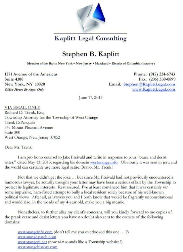 letter template sent via email  This Is How You Respond to an Unjust Cease and Desist Letter - letter template sent via email