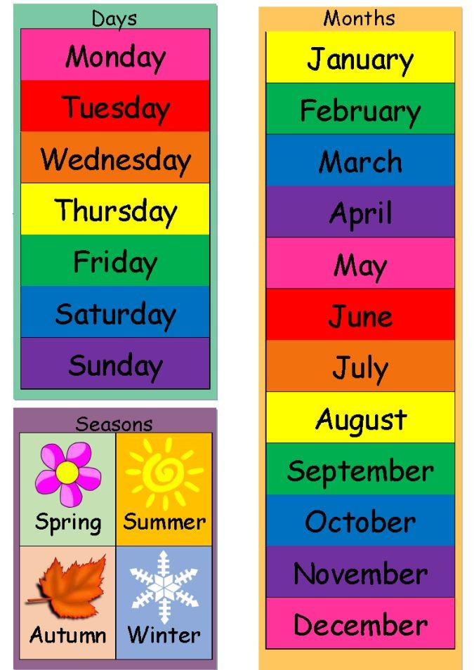6 month calendar template  Today Is (Dates, Weather & Seasons) Chart | English ..