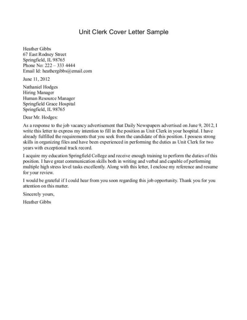 job application letter template  Unit Secretary Resume Sample - Cover letter samples ..