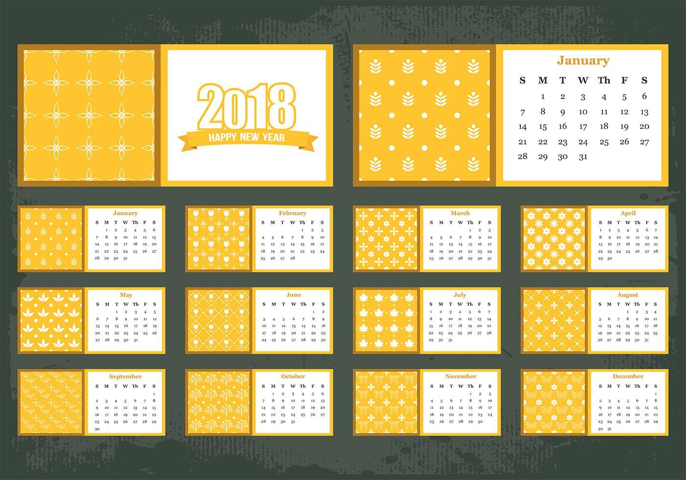 12 month calendar template 2019  Vector de la plantilla de calendario mensual imprimible ..
