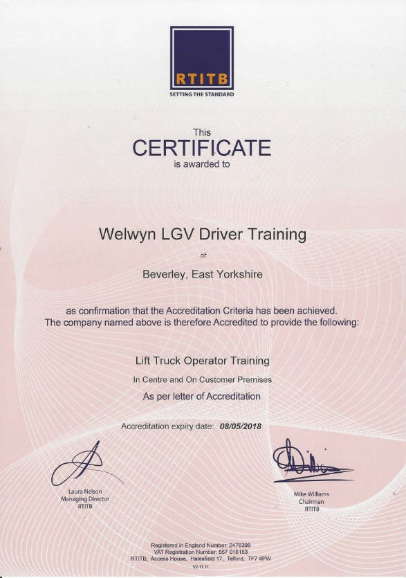 letter template uk  We are now an RTITB Accredited Centre! - Welwyn LGV - letter template uk