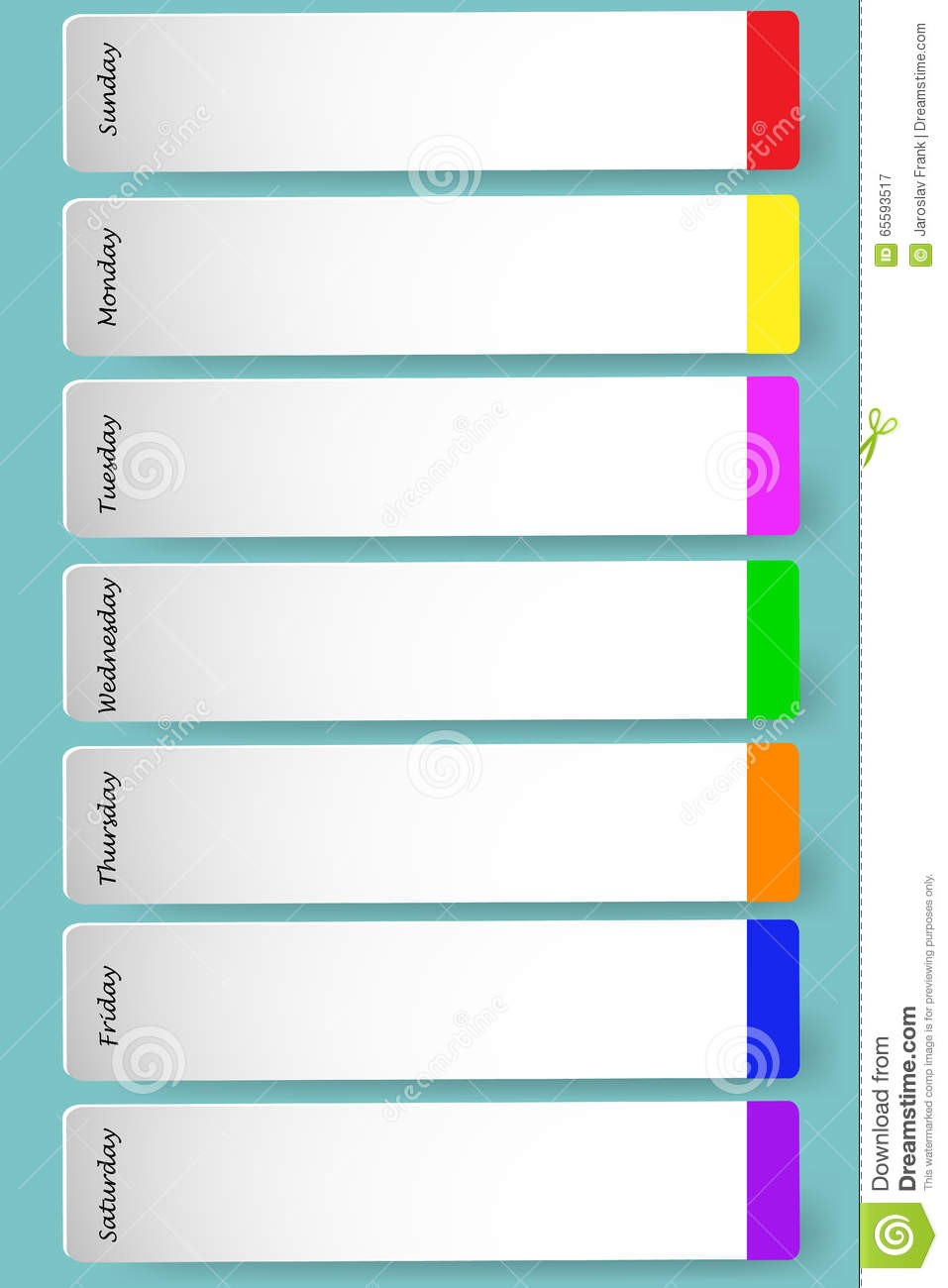 study schedule template  Weekly calendar for notes stock vector. Image of color ..