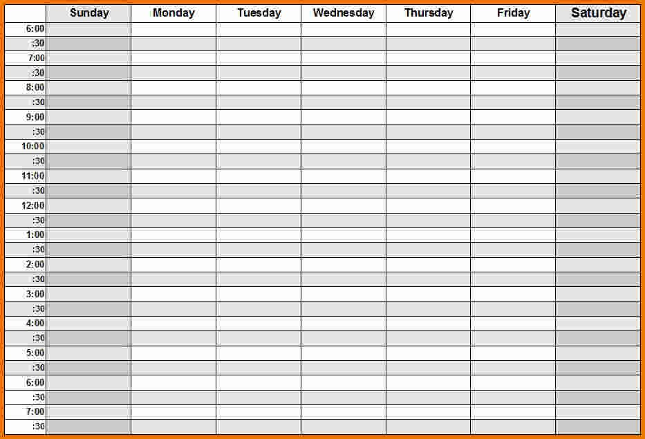 quarter hour schedule template  Weekly Calendar With Hours – printable month calendar - quarter hour schedule template