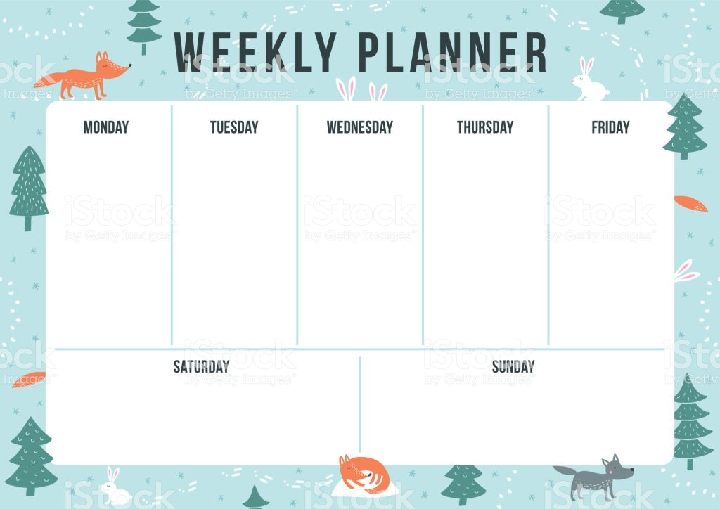 calendar template one week  Winter Weekly Planner With Cartoon Animals And Elements ..