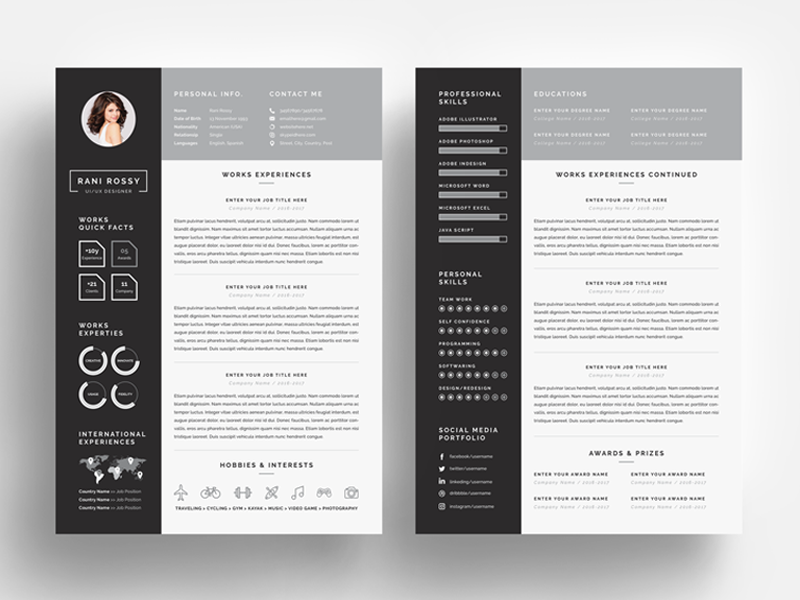 a resume template on word  Word Infographic CV by White Graphic on Dribbble - a resume template on word