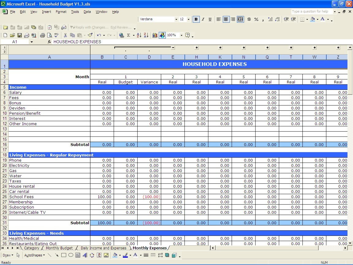 monthly budget template download  Yearly Budget Template – db-excel