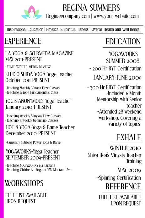 yoga instructor resume template  Yoga Instructor Resume Template | PosterMyWall - yoga instructor resume template