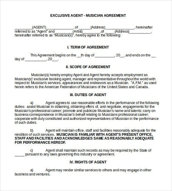 freelance contract template uk  10 Booking Agent Contract Templates to Download | Sample ..