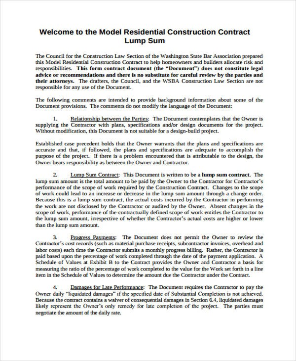 employment contract template  10+ Construction Contract Templates - Word, Apple Pages ..