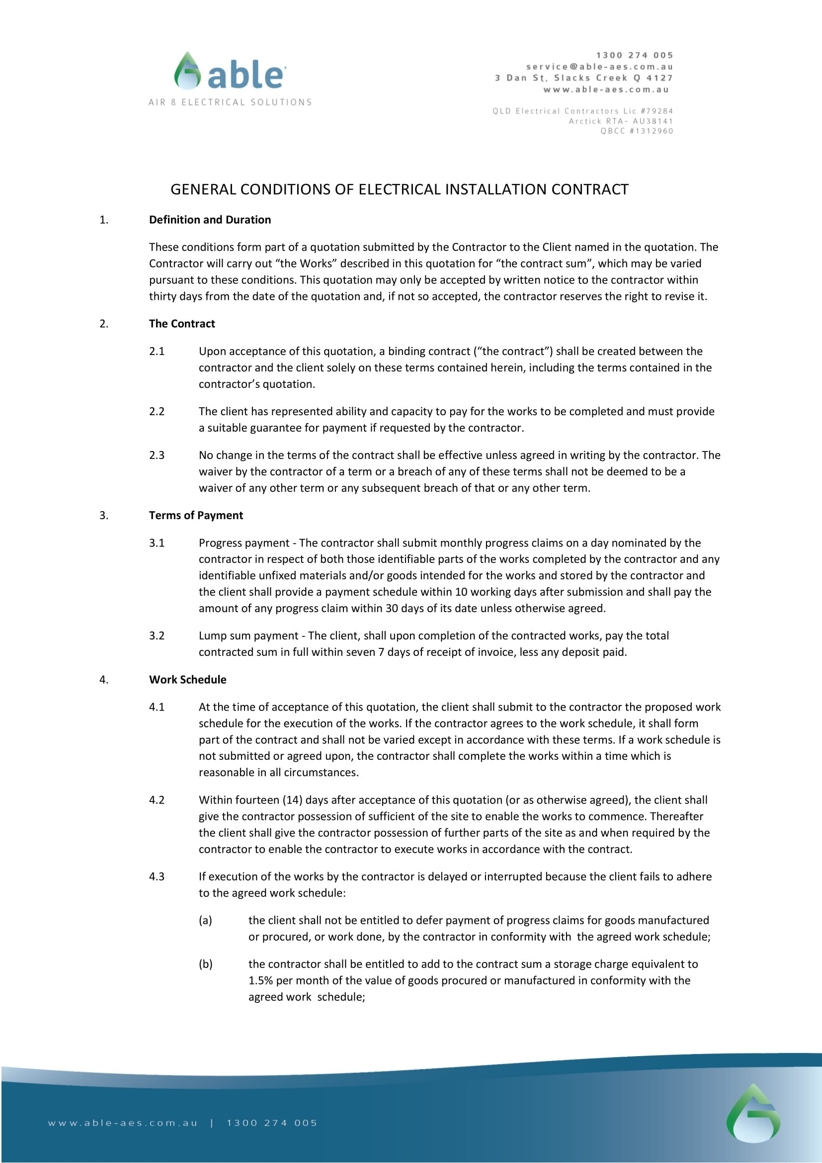 service contract template word  10+ Electrical Contract Example Templates - Word, Docs ..