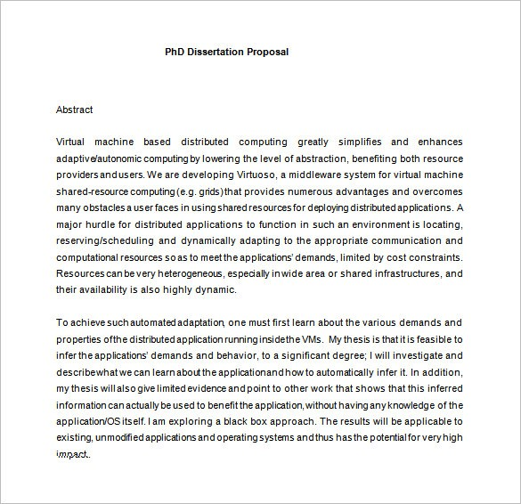 phd research proposal template  11+ Dissertation Proposal Templates - DOC, Excel, PDF ..