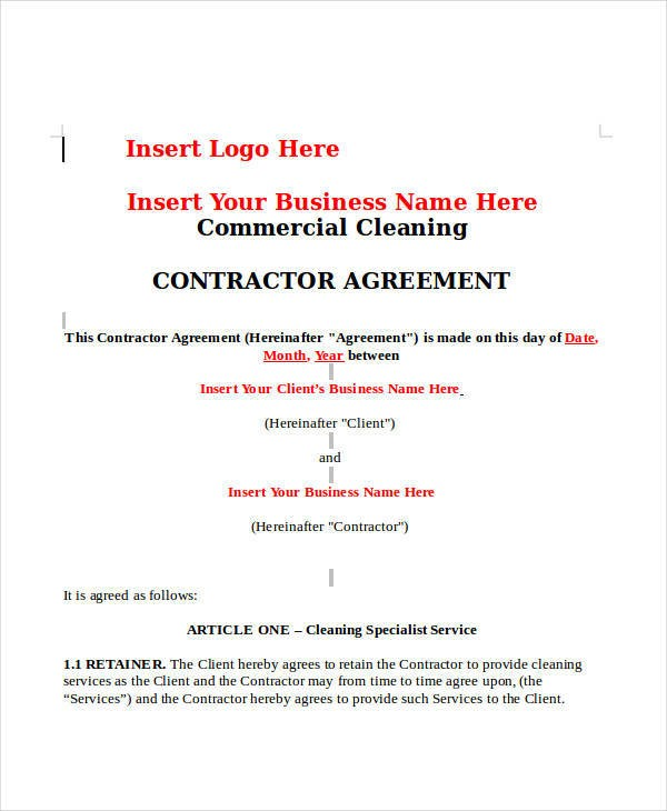 house cleaning contract template  12+ Cleaning Contract Templates - Docs, Word, Pages - house cleaning contract template