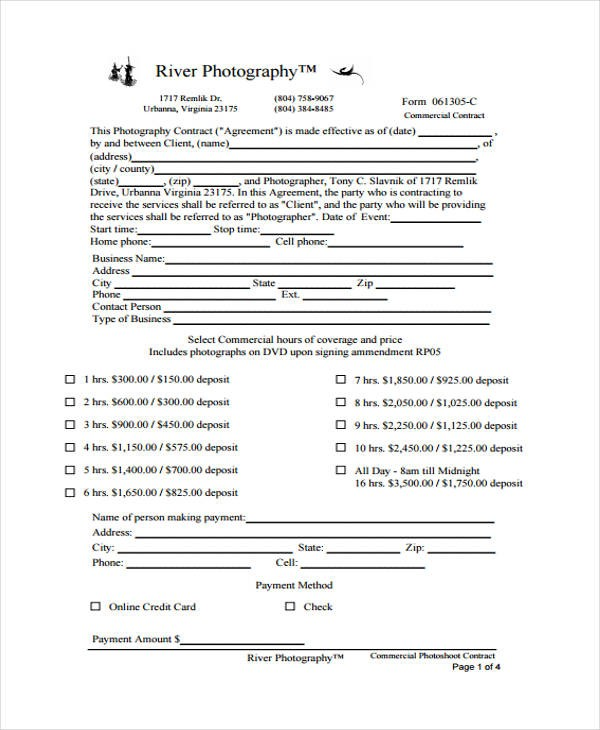 free photography contract template word  12+ Photography Contract Templates - Free Sample, Example ..