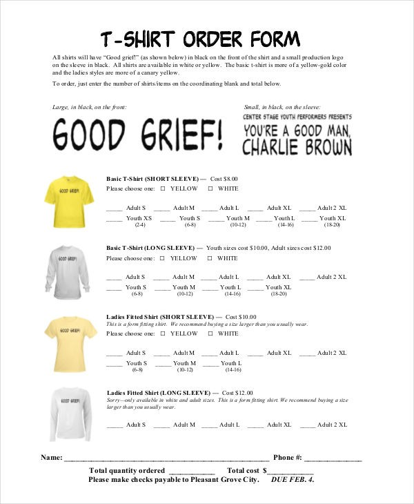 t shirt proposal template  12+ T-Shirt Order Forms - Free Sample, Example Format ..