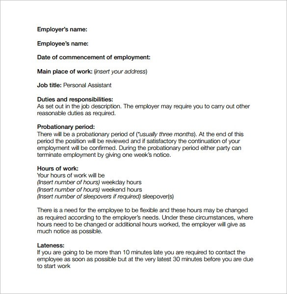 printable employment contract template uk  13+ Job Contract Templates - Pages, Word, Docs - printable employment contract template uk