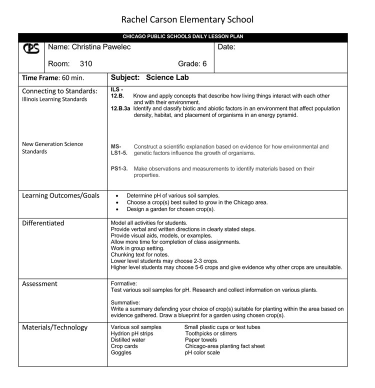 lesson plan template 6th grade  14 Free Daily Lesson Plan Templates for Teachers - lesson plan template 6th grade
