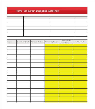 renovation budget template  15+ Sample Renovation Budget Templates - PDF, Docs | Free ..