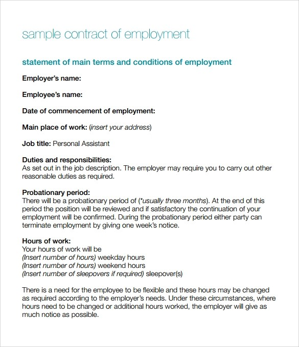 printable employment contract template uk  15 Useful Sample Employment Contract Templates to Download ..