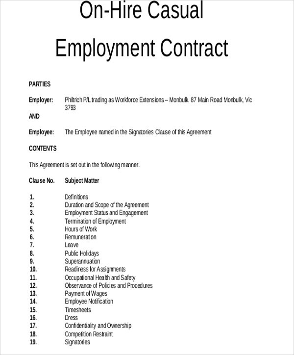 freelance contract template uk  18+ Employment Contract Templates - Pages, Google Docs ..