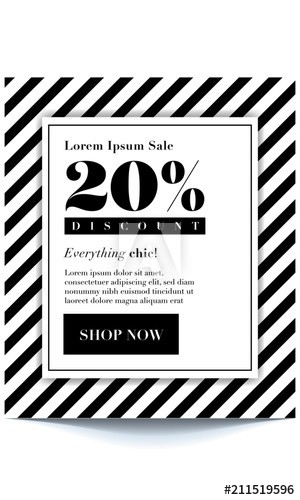 20 off flyer template  20% OFF. Seasonal sale background with elegant black and ..