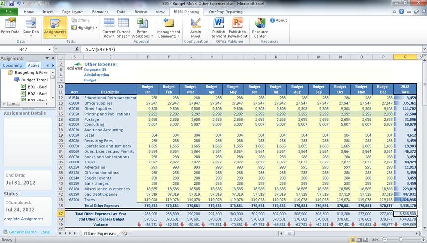 logistics budget template  21st Century Budgeting for Dynamics NAV - ERP Software Blog - logistics budget template