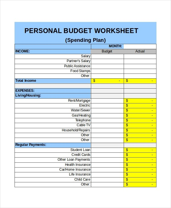 personal monthly budget template  30+ Excel Monthly Budget Templates - Word, Excel, Pages ..