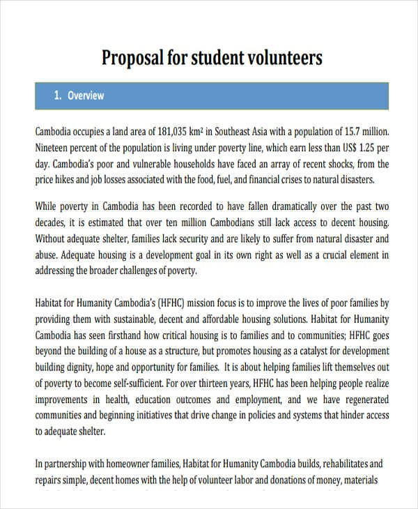 volunteer proposal template  30+ Project Proposal Templates - Word, PDF   Free ..
