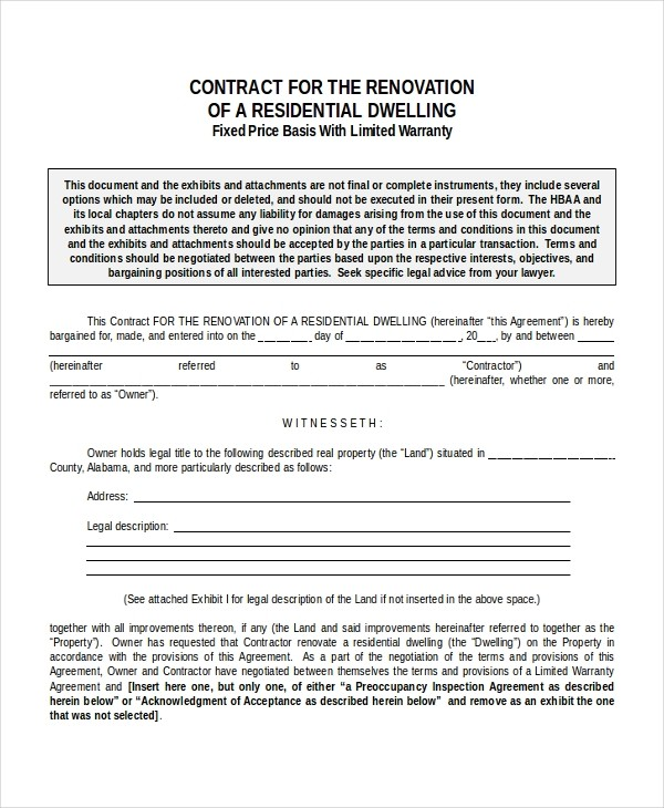 free remodeling contract template word  33+ Contract Templates - Word, Docs, Pages   Free ..