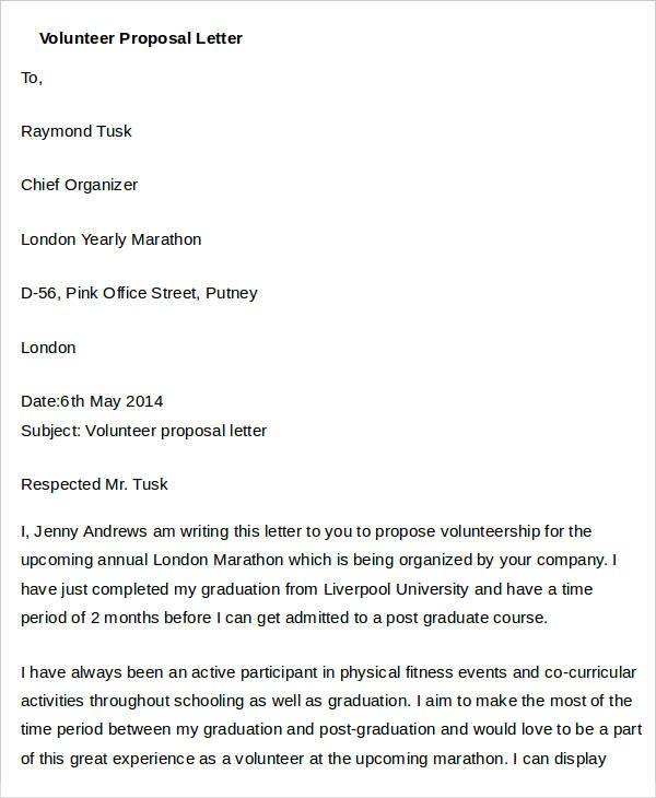 volunteer proposal template  38+ Proposal Letter Templates - Word, PDF   Free & Premium ..