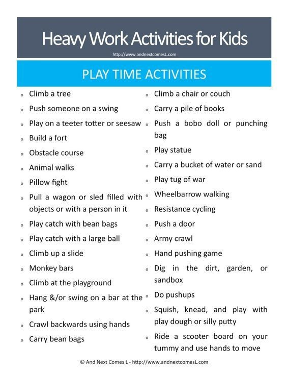 lesson plan template for autistic students  50 Heavy Work Activities for Kids Free Printable | Free ..
