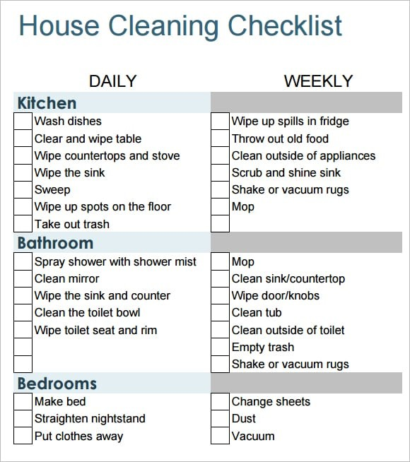 residential cleaning checklist template  6 Free House Cleaning List Templates - Excel PDF Formats - residential cleaning checklist template