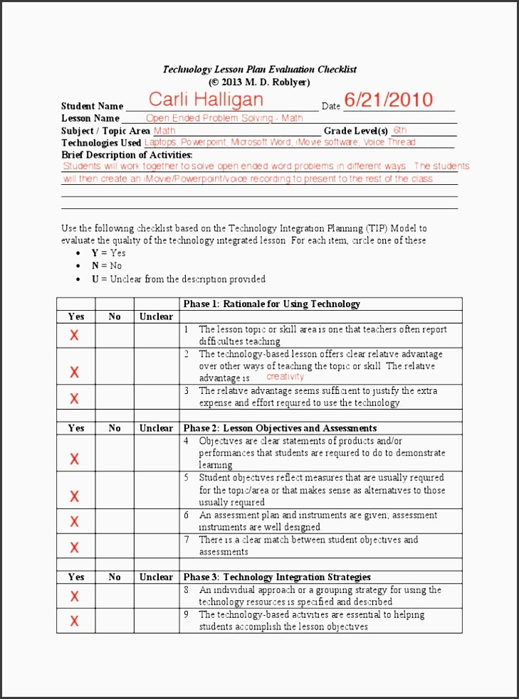 lesson plan template blank  6 Lesson Plan Checklist for Teachers - SampleTemplatess ..
