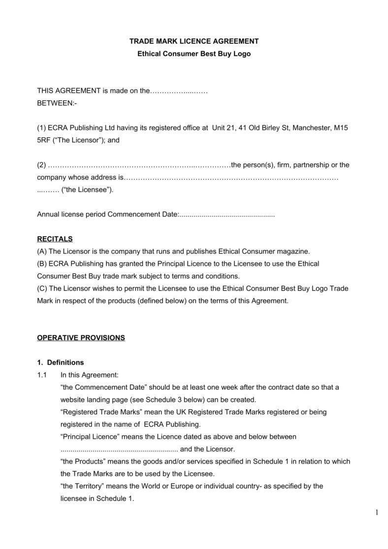 business contract template  6+ Trademark License Agreement Templates for Restaurant ..