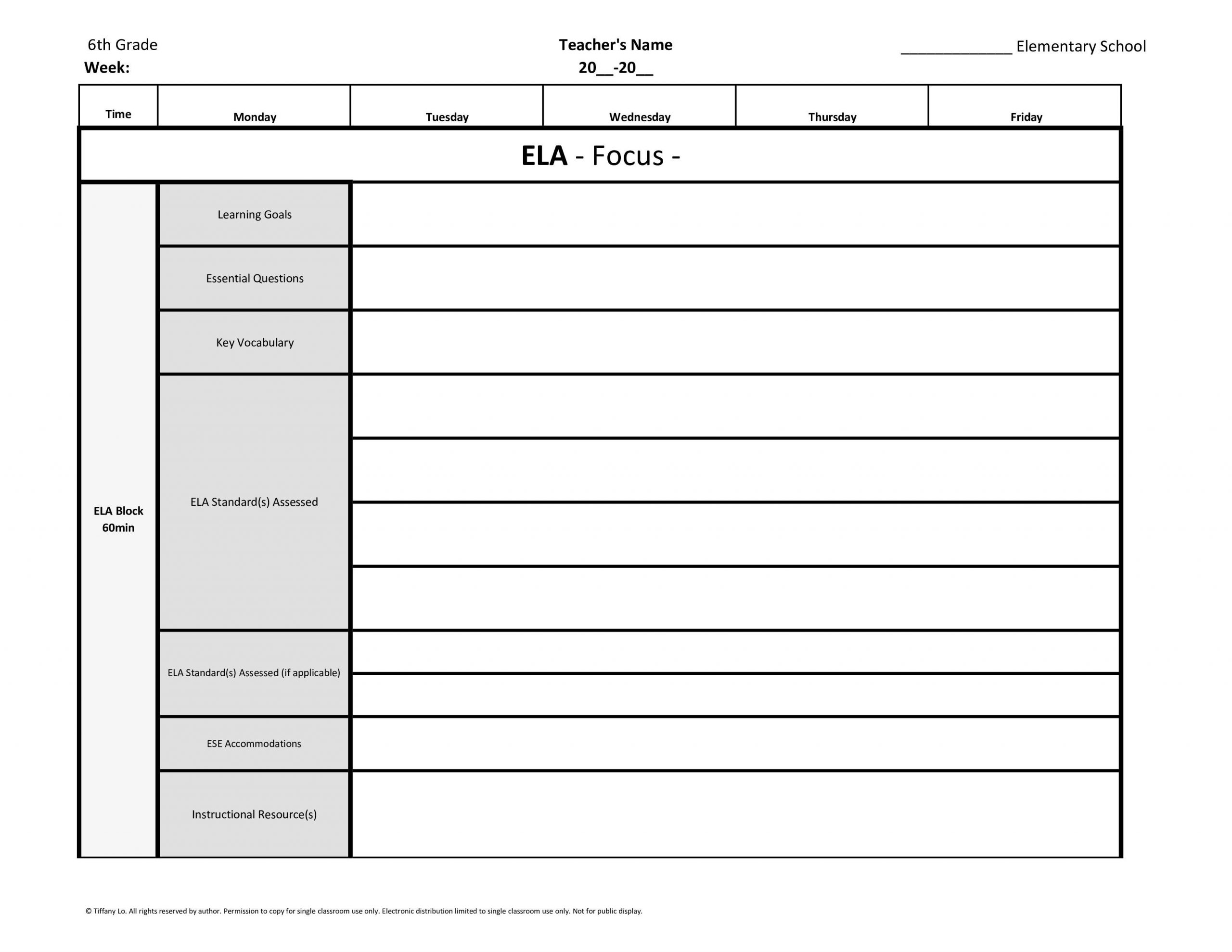lesson plan template 6th grade  6th Sixth Grade Common Core Weekly Lesson Plan Template w ..