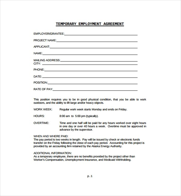one year contract template  8+ Temporary Employment Contract Templates - Word, Pages ..