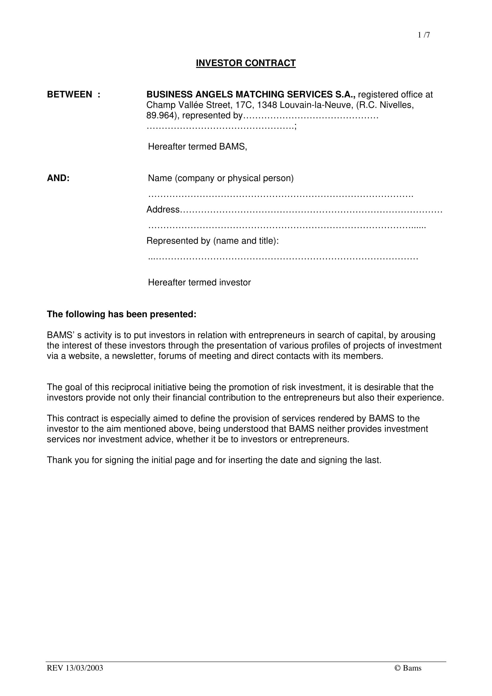 business contract template  9+ Personal Investment Agreement Examples - PDF | Examples - business contract template