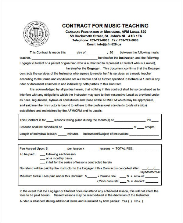 private yoga contract template  9+ Teacher Contract Templates - Free Word, PDF Format ..