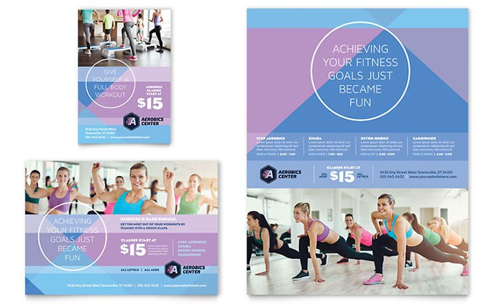 1/4 page flyer template free  Aerobics Center Flyer & Ad Template Design - 1/4 page flyer template free