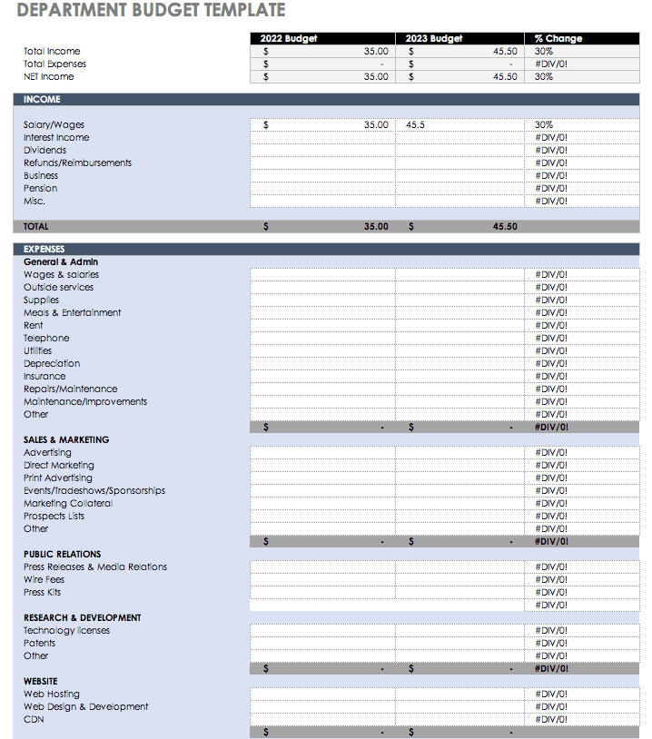 high level budget template  All the Best Business Budget Templates   Smartsheet - high level budget template