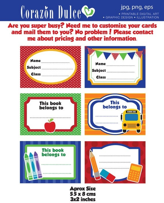 labels template for school  Back to School Labels Printable school labels /tags book - labels template for school